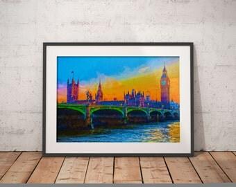 London Sunset Print, Big Ben Painting, Britain Art , City Painting, Westminister Bridge, British Parliament Building