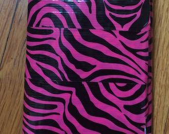 Pink zebra tri-fold wallet
