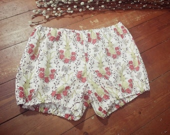 Rabbit Bloomer Shorts, Bunny Pyjamas, Retro Sleepwear, Vegan Pyjamas, Woodland Pyjama Bottoms, Pink Sleep Shorts, Size: Small
