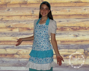 Blue Floral Ruffle Cotton Apron