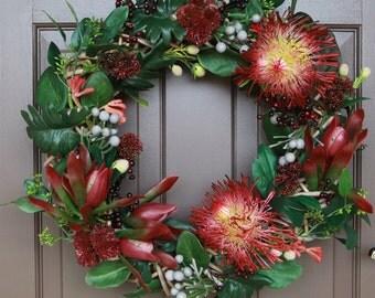 Artificial Floral Wreath, Christmas Wreath, Wreath, Wedding Wreath, Australia Native, Wreath, Decor Wreath, Front Door Wreath,Funeral Wreath