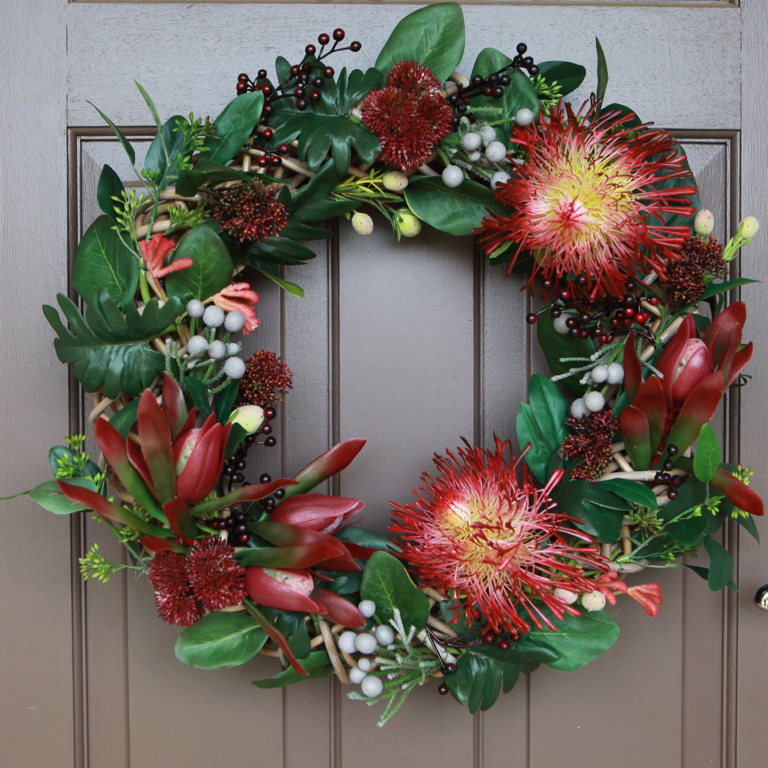 Artificial floral wreath christmas wreath wreath wedding for Australian christmas decoration
