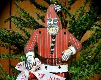 Character Construction Santa Ornament, Character Construction, Handmade Ornament, Paper Ornament, Handmade Santa, Vintage Inspired Christmas