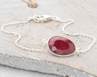 Handmade, Sterling Silver 925 Faceted Ruby Links Bracelet
