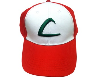 Ash Ketchum L Baseball Cap From Pokemon HIGH QUALITY Trainer Hat 3D Embroidered Original TV Show Game Go Costume Cosplay Adult White Red