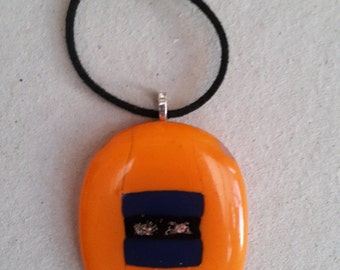 Orange and Blue fused glass pendant