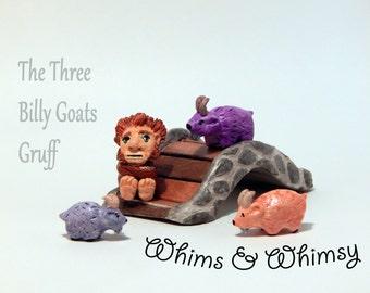 Three Billy Goats Gruff Story Set Mini Sculpture Figurines