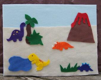 Felt Board Dinosaur Story, Dinosaur Felt Scene, Dino Felt Board, Felt Dinos Set
