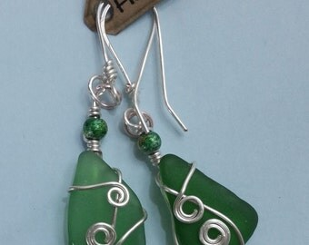 Bottle Green Seaglass Earrings