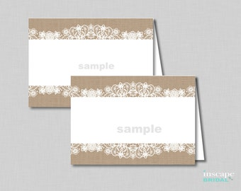 Burlap and Lace Food Tent Cards, Rustic Bridal Shower Food Labels, PlaceCards, Rustic PlaceCards, Rustic Place Cards, Country Placecards