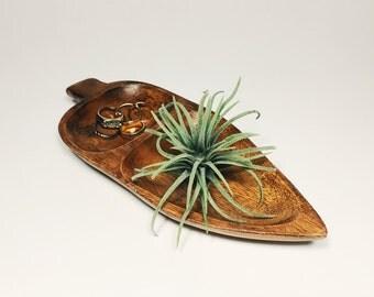 Vintage Teak Wood Leaf Tray. Acorn Shaped Ring Dish. Mid Century Snack Plate.