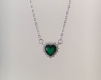 Heart Necklace, Emerald Necklace, White Gold Necklace, Heart Pendant, Heart Charm