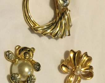 Three Lovely Vintage Pins (Brooches)--Teddy Bear, Circle, Bow, gold toned, Costume Jewelry