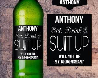 SUIT UP Personalized Groomsman, Best Man, Beer Label, Groomsman Beer Label, Best Man Beer Bottle Label, Custom Beer Label