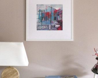 original painting, figurative, fine art modern, acrylic, blue, red, purple, unique, graphic, urgency, Japan, geometric, fukushima, nuclear