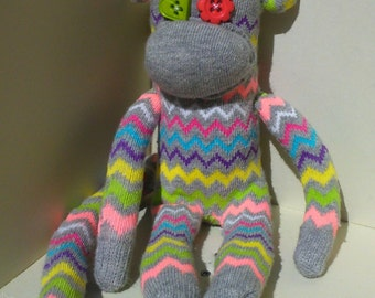Sock Monkey Toy Zig Zag Pattern | Quirky Box of Critters