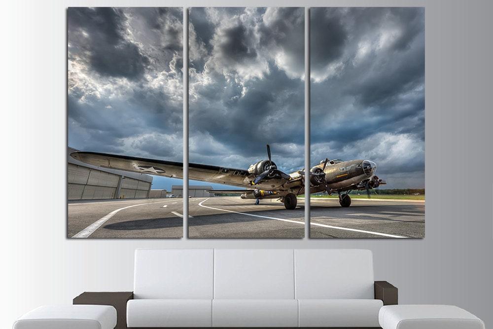 Army Wall Art Aircraft Canvas Art Vintage Airplane Plane Wall