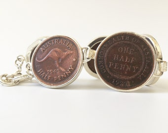 Vintage Australian and British halfpenny coin bracelet