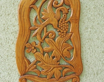 Wooden phoenix with grapes. Farmhouse wall decor  | Hand-carved wood wall art | Wood carving