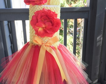 First birthday outfit girl, six months Birthday outfit girl, newborn baby outfit girl,Baby girl tutu dress, red and yellow tutu dress
