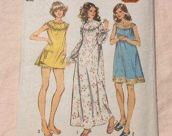 Simplicity 5030 Vintage 70's Pajamas Nightgown Bloomers Sleepwear Sewing Pattern Size 12/14 Medium Retro Seventies 60's Sixties
