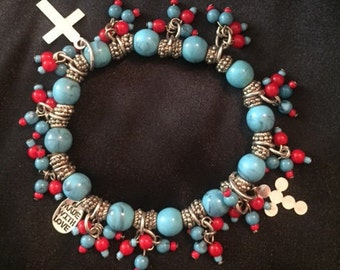 Turquoise, Red and Silver Bracelet with dangle crosses