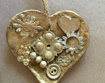 Modern art, Heart ornament, Valentines ornament, unique gift (HC07)