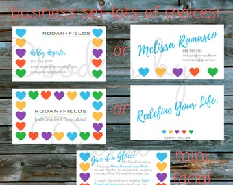 "Rodan + Fields Custom ""Hearts"" Business Starter Set- Business Card, Mini Facial Card and Matching Thank you Card"