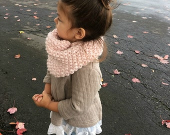 Blush Cowl | Toddler Cowl | Mommy and Me | Child Cowl |Pale Pink Cowl | Seed Knit Cowl | Knitted Cowl, Blush