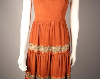 1970s Suede Peasant Dress