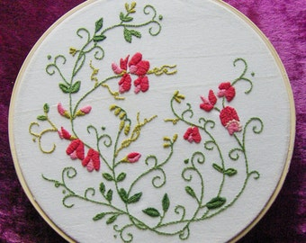 "Embroidery 8"" Hoop Art - Hand Embroidered Floral Design"