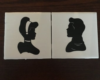 Cinderella & Prince Charming set of 2 coasters.