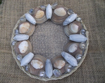 Candle Holder with Seashells and Crystal Beads