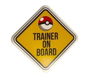 Funny Pokemon Sticker Go Decal Car Window Sticker  - Trainer On Board pokeball