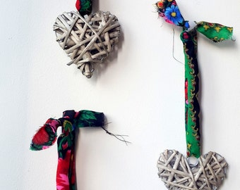 Wicker Hearts with Upcycled Ukrainian Folk Scarf Ribbon Tie