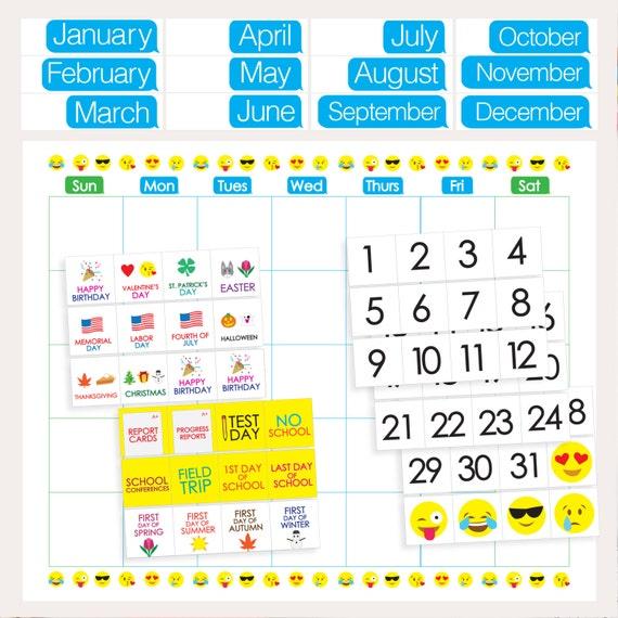 Blank Calendar Emoji : Emoji classroom calendar printable months days holidays