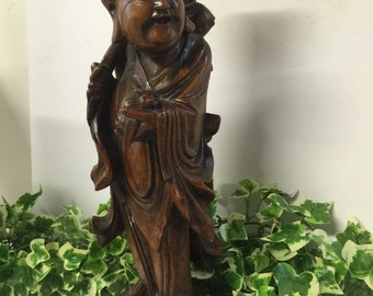 Lovely 19th Century Oriental Hand Made Root Wood Carving Of A Chinese Immortal