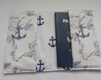Ivory and Navy Nautical Passport Cover, Handmade Personal Passport Holder