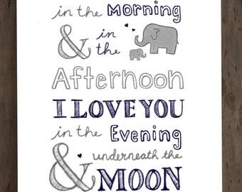 Elephant Nursery, Nursery Wall Art, DIGITAL DOWNLOAD, 8x10 PRINT, Nursery Decor, I Love You