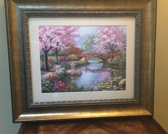 Completed Cross Stitch, Japanese Garden, Wall Art, Finished Cross Stitch