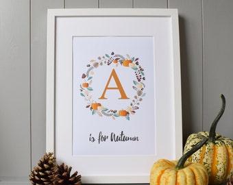 A is for Autumn Print Wall Art (A4) - Fall Season Decor Gift