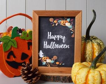 "Happy Halloween Blackboard Style Print Art (5""x7"") - Fall Season Decor Gift"