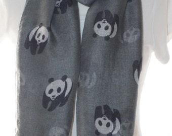 Grey panda Scarf shawl, Beach Wrap, Cowl Scarf, grey panda print scarf, cotton scarf, gifts for her