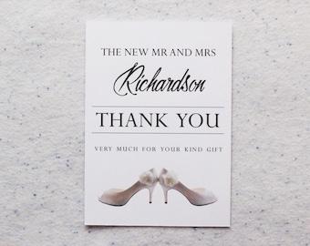 Personalised Wedding Shoe Design Thank You Cards