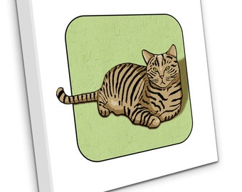 Tabby Cat On Canvas (Green)