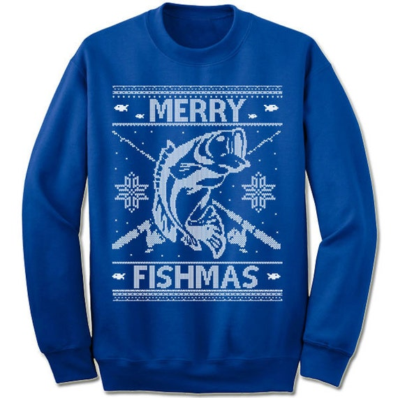 merry fishmas ugly christmas sweater fisherman fish fishing