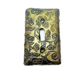Decorative Steampunk SwitchPlate  - Faux Vintage Brass Switch Plate Cover - Textured Polymer Clay Switch Plate - Victorian Style
