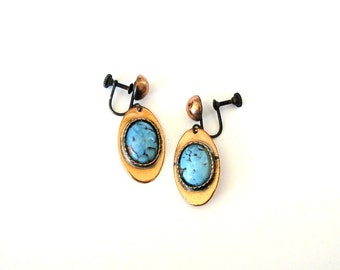 signed Roslyn Hoffman earrings . copper and turquoise earrings . mid century screw back earrings