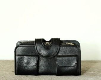 vegan vinyl black wallet . 1960s / 1970s black pocketbook by Royal, made in Hong Kong