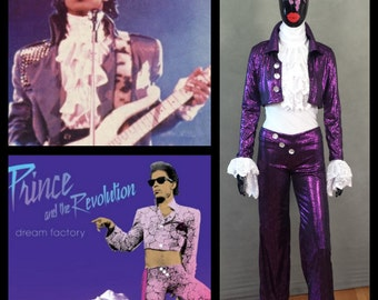 MADE TO ORDER Prince 'Purple Rain & Dream Factory' Inspired Pant, Ruffle Top and Short Jacket Inspired Costume